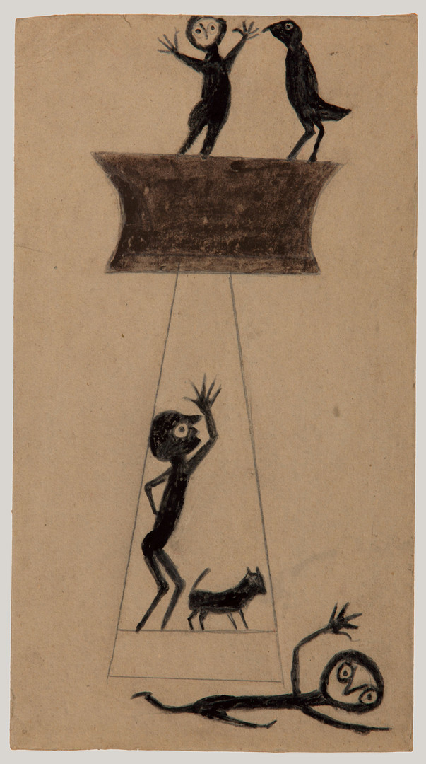 Bill Traylor, Construction, Fleeing Figure, Two Men, Bird and Dog, 1939-1942 © Bill Traylor artwork is used by permission of Bill Traylor Family, Inc., and The Artistry of Bill Traylor, LLC