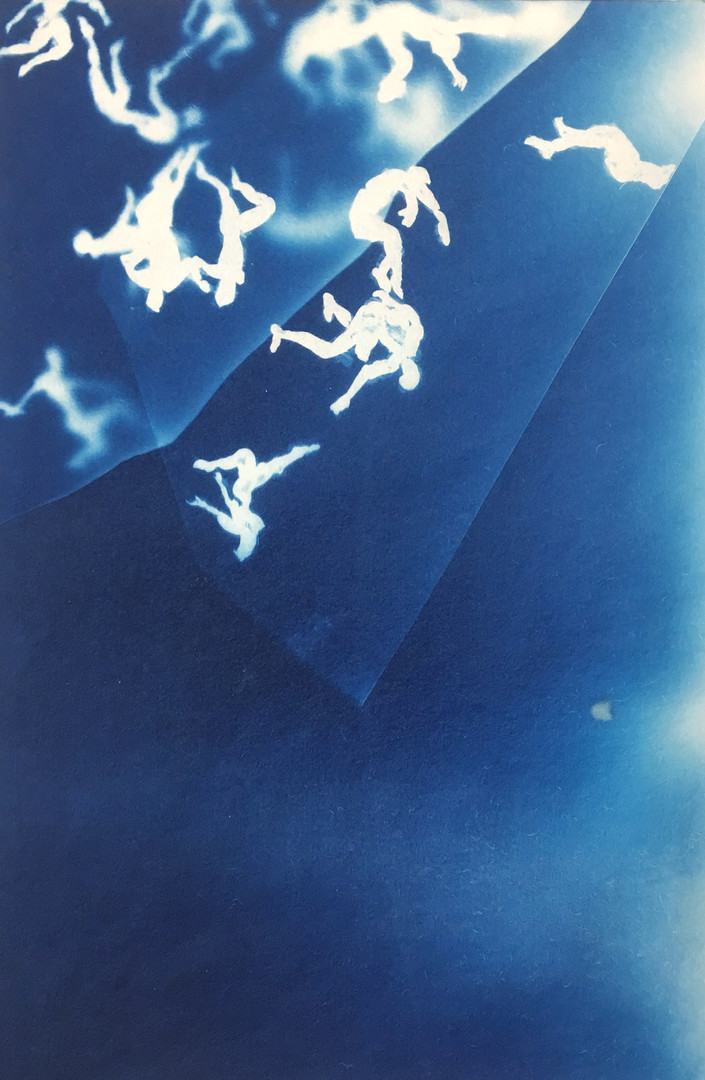 Han Qin, Falling 2, 2018, Cyanotype on paper, 10 x 6 ½ inches