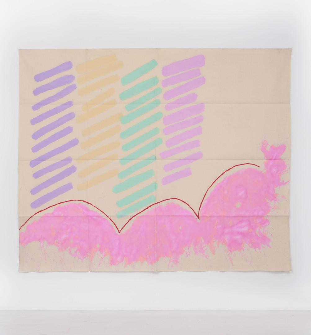 "Giorgio Griffa Finale rosa, 1996 Acrylic on canvas 70.9 x 86.6"" / 180 x 220cm Photo: David Schulze ©Giorgio Griffa Image courtesy the artist and Casey Kaplan, New York."