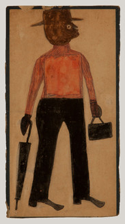 Bill Traylor, Man in Red Shirt with Hat, Umbrella, and Lunchbox, 1939-1942 © Bill Traylor artwork is used by permission of Bill Traylor Family, Inc., and The Artistry of Bill Traylor, LLC
