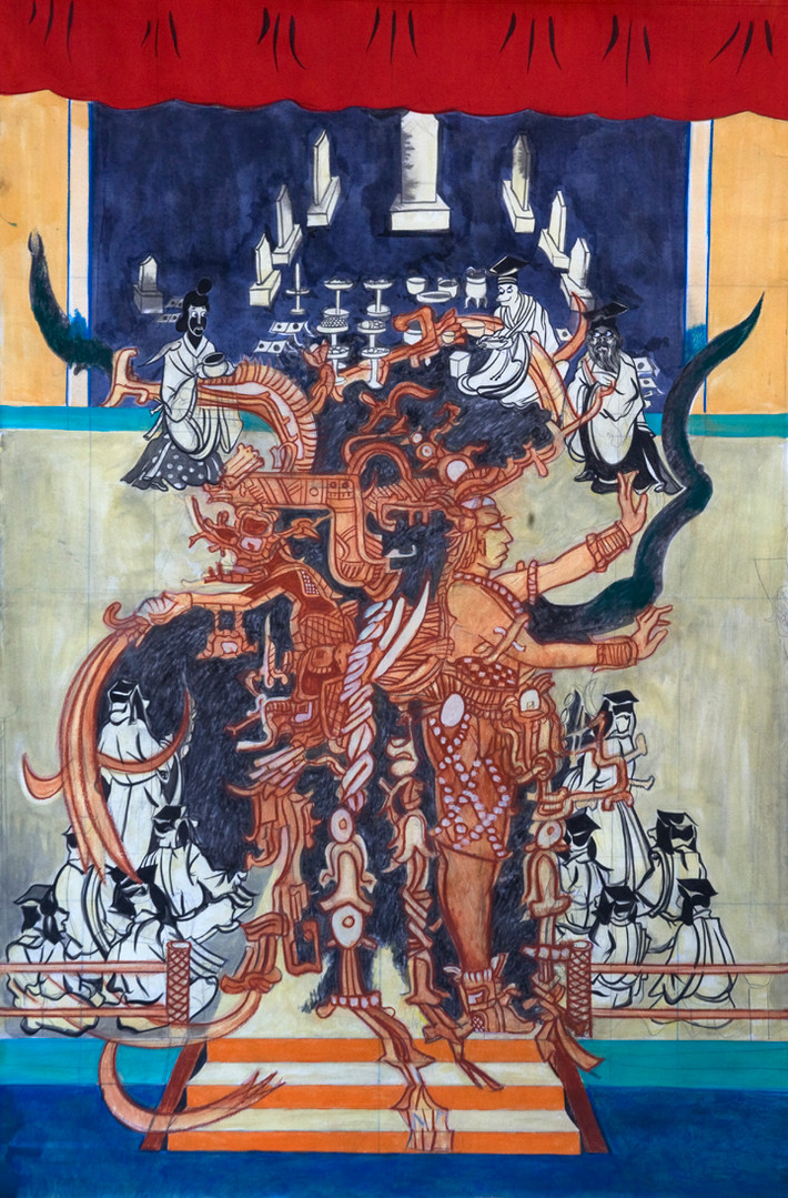 "Title – Kakaw p'al Ahau  Date - 2012 Medium:  Pencil, ink,  Pastel and Acrylic on paper  72"" x 48""  Photo:  Hidalgo"