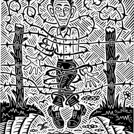 "Richard Mock, ""Refugee"", linocut,  21"" x 17 ⅛"", ed. 50, 1994"