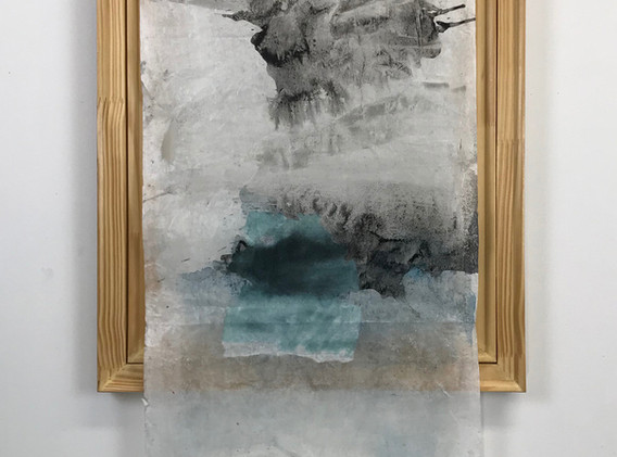 Ellen Hersey Fragment 30 x 24 inches flashe and collage on kozo paper with wood frame 2020