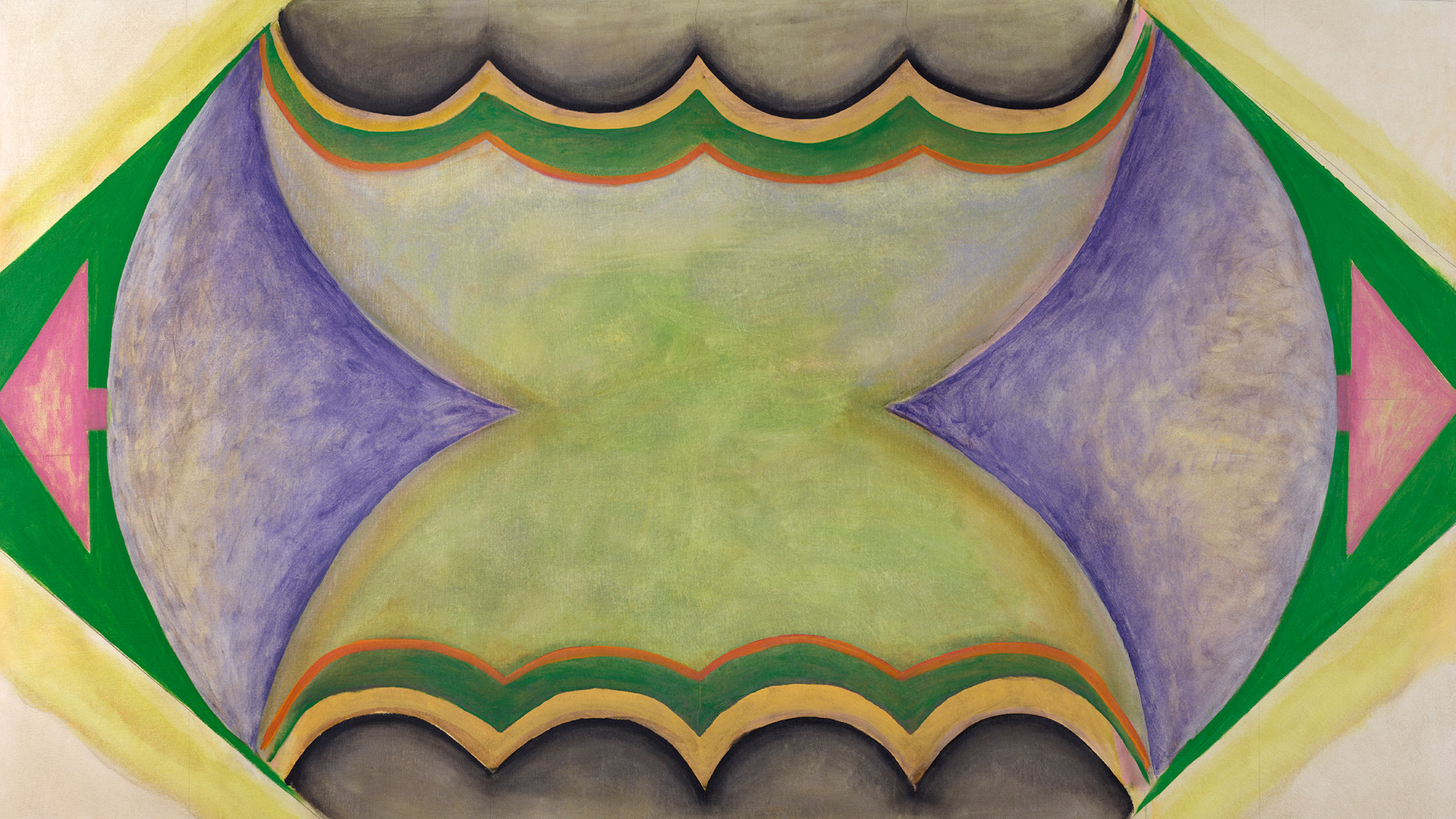 Ida Kohlmeyer (1912-1997) Suspended, 1968  Mixed media on canvas 57 1/4 x 69 in. (145.4 x 175.3 cm) copyright Estate of Ida Kohlmeyer. Courtesy Berry Campbell, New York.