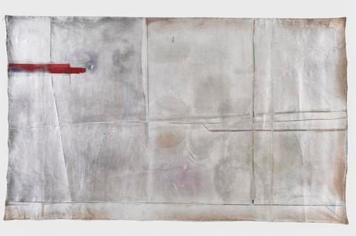 Mary Lovelace O'Neal  Steam Engine  circa 1970s  mixed media on unstretched canvas  83 x 139 1/2 inches (210.8 x 354.3 cm)