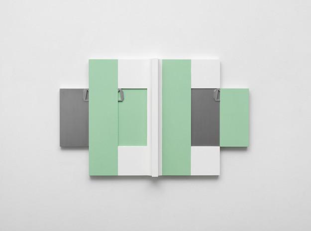 Richard Rezac Laterano (panel), 2016 Painted cherry wood, aluminum 21 3/4 x 35 1/2 x 3 inches