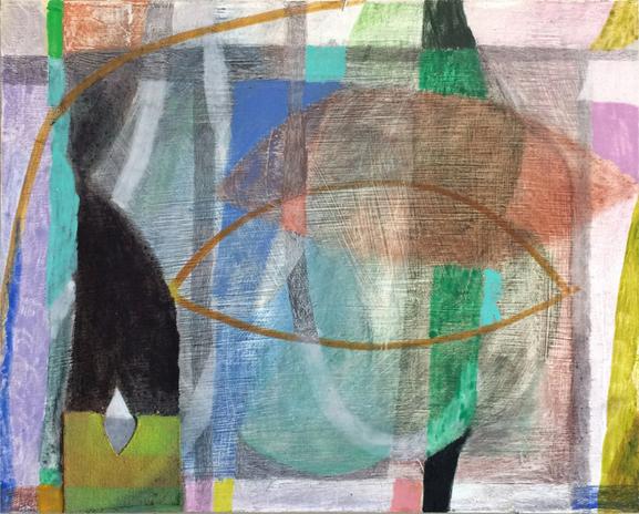2016  oil, graphite and canvas collage on masonite  12 x 15 inches