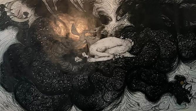 "Sobin Park, Birth of New Female, 2019, 117 1/5 x 90 1/2"" (450 × 230cm), pencil on paper, bronze powder"