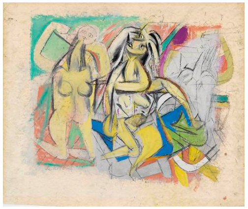 Willem de Kooning  Untitled (Three Figures)   1947  oil, enamel paints, graphite, and charcoal on paper   20 3/4 x 24 inches (52.7 x 61 cm)   Glenstone Museum, Potomac, Maryland