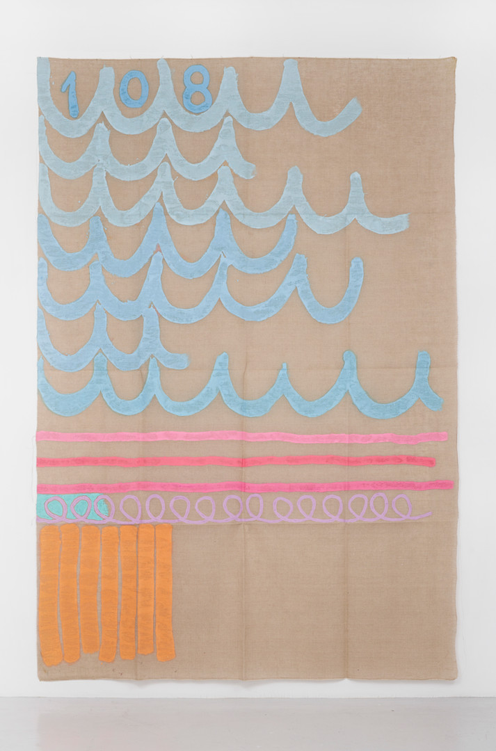 "Giorgio Griffa Tre linee con arabesco n. 108, 1991 Acrylic on canvas 114.2 x 76"" / 290 x 193cm Photo: David Schulze ©Giorgio Griffa Image courtesy the artist and Casey Kaplan, New York."