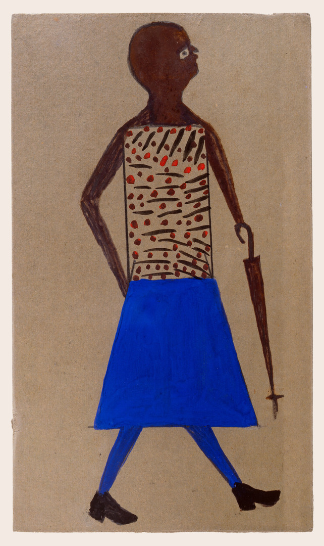 Bill Traylor, Woman with Umbrella and Blue Skirt, 1939-1942 © Bill Traylor artwork is used by permission of Bill Traylor Family, Inc., and The Artistry of Bill Traylor, LLC