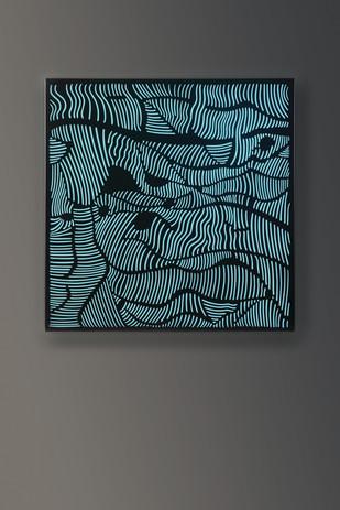 Antonia Papatzanaki, Structural 1, 2018, Stainless steel, Plexiglas, light, 47 ¼ X 47 ¼ X 4 inches.