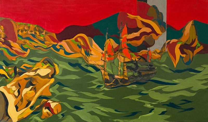 "Title – Au retour HK   Date - 2020 Medium:  Oil on linen  Size:  40 1/4"" x 68""  Photo:  Fantini"