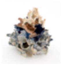 Renqian Yang, Mixed Growth, 2018. Paper clay, fire to cone 10, wood firing, 9 x 8 x 8 inches ©Renqian Yang, courtesy Fou Gallery.