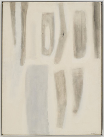 """Agnes Martin, Untitled, 1955-1956, oil on canvas, 48"""" x 36"""" (121.9 cm x 91.4 cm) © 2019 Estate of Agnes Martin / Artists Rights Society (ARS), New York"""