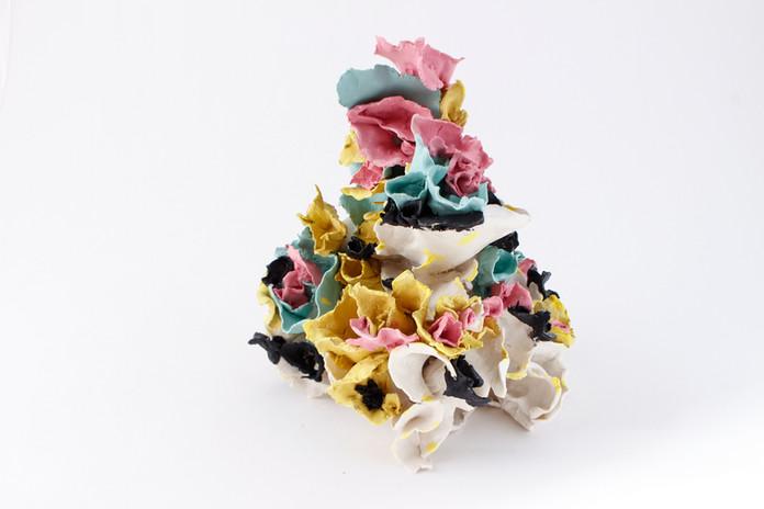 "Renqian Yang, Ilinx, 2021. Colored porcelain paper clay with glaze, 9.5"" x 9"" x 9.5"" ©Renqian Yang"