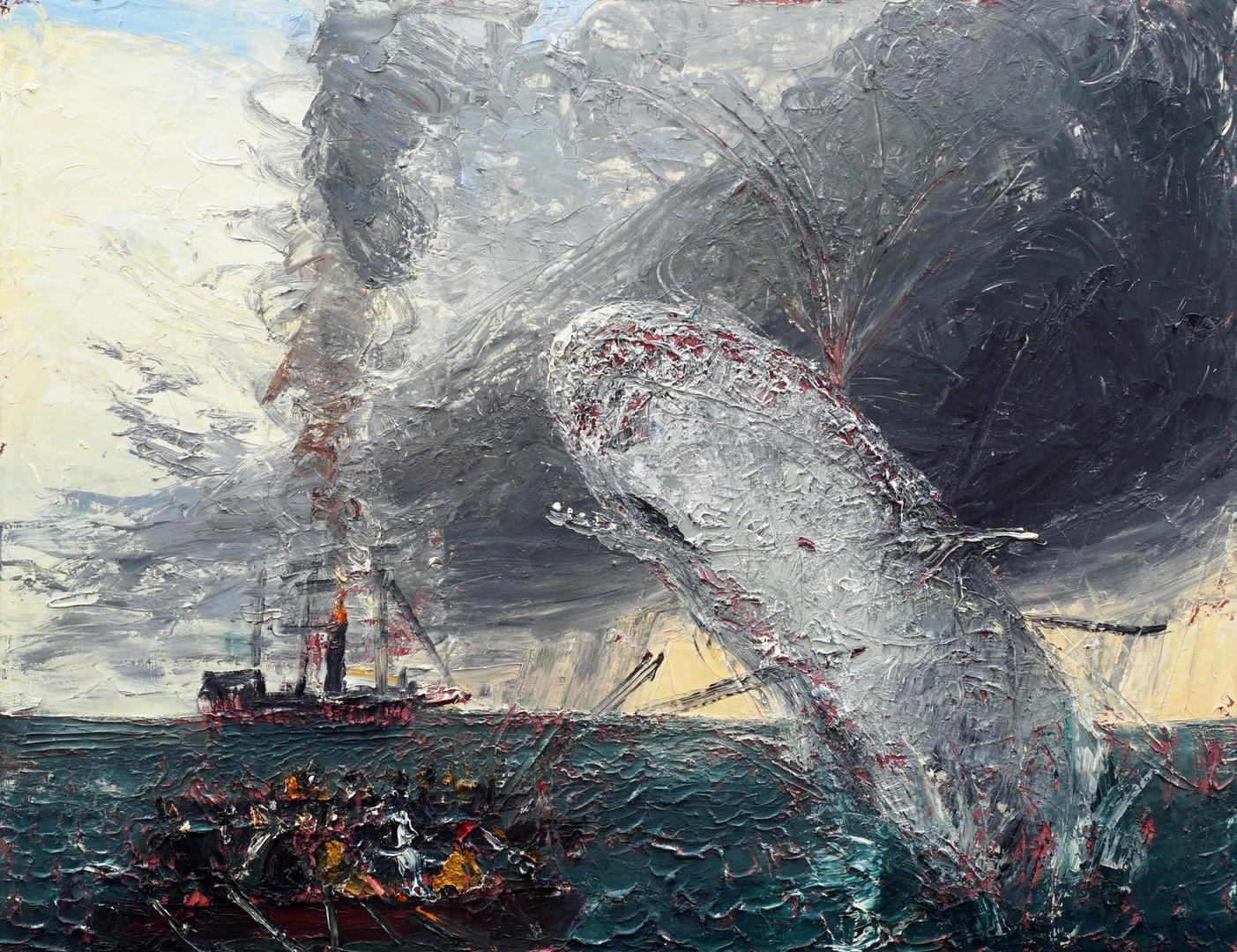 JOHN BRADFORD Moby Dick, 2019 acrylic, oil on canvas 60 x 78 in (152.4 x 198.1 cm)