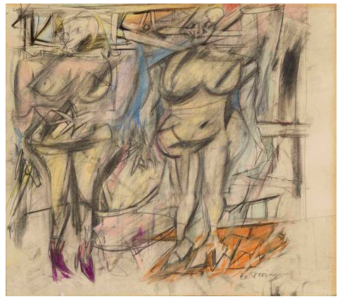 Willem de Kooning  Two Women IV  1952  graphite, colored chalks, charcoal, and gouache on paper  16 1/2 x 20 1/4 inches (41.9 x 51.4 cm)  Glenstone Museum, Potomac, Maryland