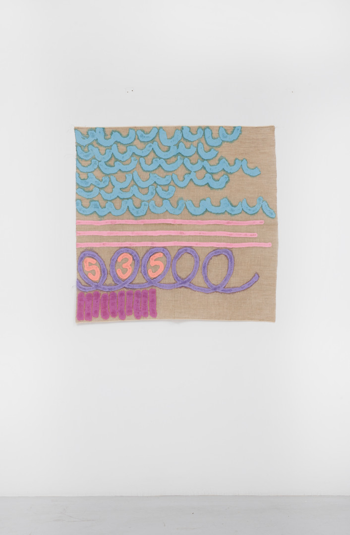 "Giorgio Griffa Tre linee con arabesco n.535, 1992 Acrylic on canvas 37.2 x 38.2"" / 95 x 97cm Photo: David Schulze ©Giorgio Griffa Image courtesy the artist and Casey Kaplan, New York."