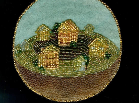 """Kristen Heritage Home Sphere bead embroidery 6 x 6 inches, framed 9"""" x 11 inches  2018"""