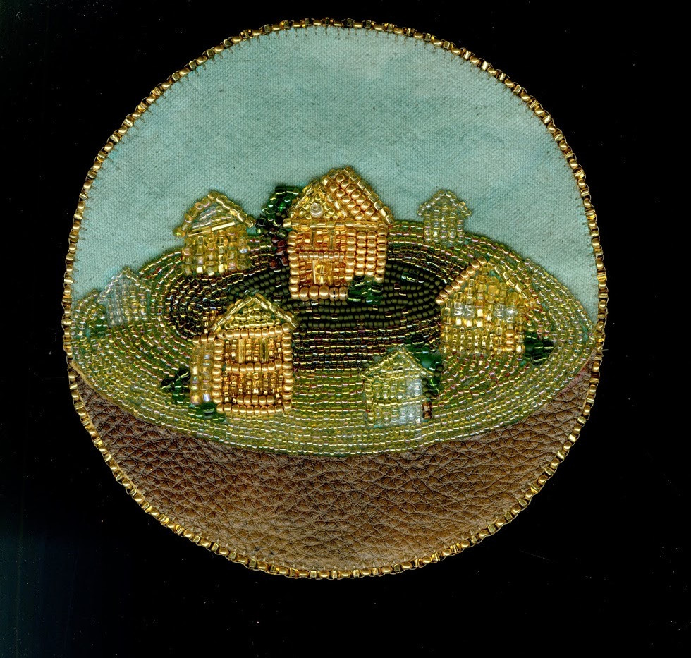 "Kristen Heritage Home Sphere bead embroidery 6 x 6 inches, framed 9"" x 11 inches  2018"