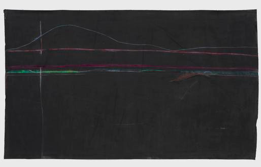 Mary Lovelace O'Neal  The Four Cardinal Points Are Three: North and South  circa 1970s  lampblack pigment, masking tape, and pastel on unstretched canvas  85 1/4 x 144 1/2 inches (216.5 x 367 cm)