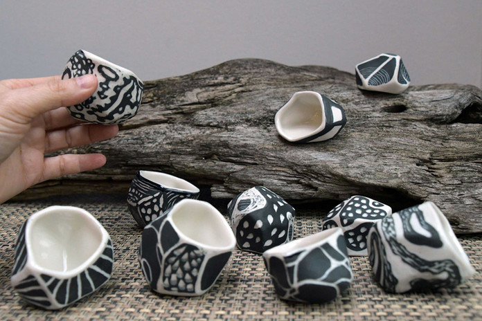 """Ruth Borgenicht """"Collaboration with Wendy Letven: Tea Cups"""" 2020 - ongoing, porcelain, 1"""" - 2"""" high."""