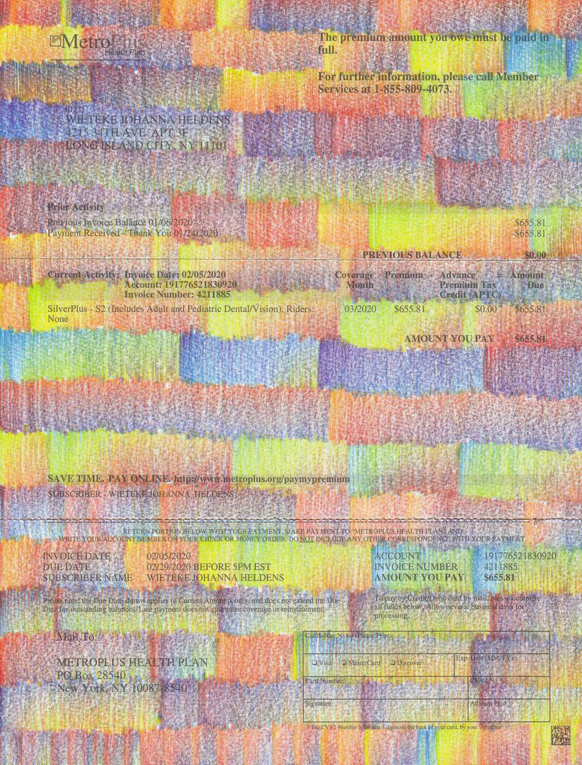 "Wieteke Heldens ""April, Health Insurance Bill"" 2020, colored pencil on the artist's health insurance bill, 11 x 8.5 in."