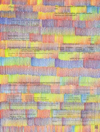 "Wieteke Heldens ""April, Health Insurance Bill"" 2020, colored pencil on the artist's health insurance bill, 11 x 8.5 in."