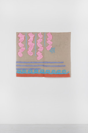 "Giorgio Griffa Tre linee con arabesco n.491, 1992 Acrylic on canvas 34.4 x 41.1"" / 88 x 105cm Photo: David Schulze ©Giorgio Griffa Image courtesy the artist and Casey Kaplan, New York."