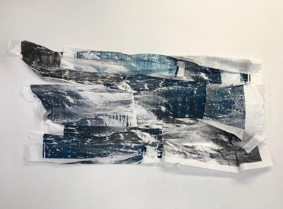 Ellen Hersey Breaks silkscreen on kozo paper 41 x 78 inches (approximately) 2020