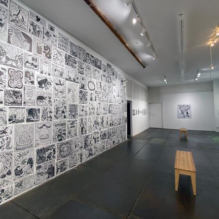 Richard Mock: The Cutting Edge – Installation of 309 linocuts printed by Dennis McNett, Wolfbat Studios