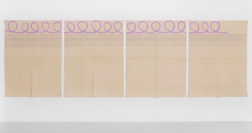 "Giorgio Griffa Polittico arabesco con linee orizzontail, 1997 Acrylic on canvas 58.3 x 190.9"" / 148 x 485cm Photo: David Schulze ©Giorgio Griffa Image courtesy the artist and Casey Kaplan, New York."