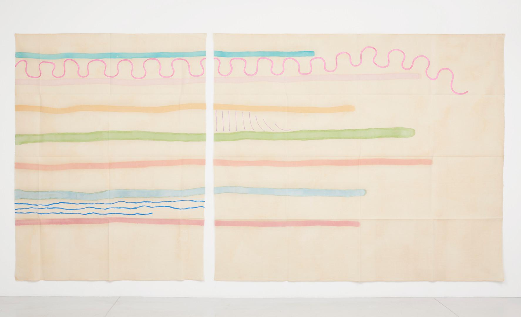 "Giorgio Griffa Dittico lieve odulaato, 1996 Acrylic on canvas 92.9 x 189"" / 236 x 480cm Photo: David Schulze ©Giorgio Griffa Image courtesy the artist and Casey Kaplan, New York."