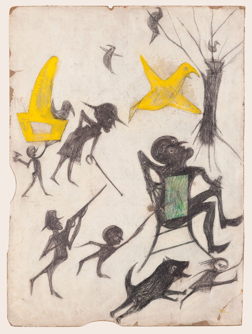 Bill Traylor, Exciting Event (Man on Chair, Man with Rifle, Dog Chasing Girl, Yellow Bird and Other Figures), 1939-1942 © Bill Traylor artwork is used by permission of Bill Traylor Family, Inc., and The Artistry of Bill Traylor, LLC