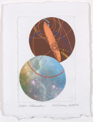 Dorothea Rockburne (American [born Canada], 1932) Copper Element #1, 2002 Copper, cut and pasted printed paper, and wax crayon on paper 9 3/4 × 7 1/2 in. (24.8 × 19.1 cm) Promised Gift of Michael A. Rubenstein, from the collection of Michael A. and Juliet van Vliet Rubenstein, in celebration of the Museum's 150th Anniversary © 2019 Dorothea Rockburne / Artists Rights Society (ARS), New York
