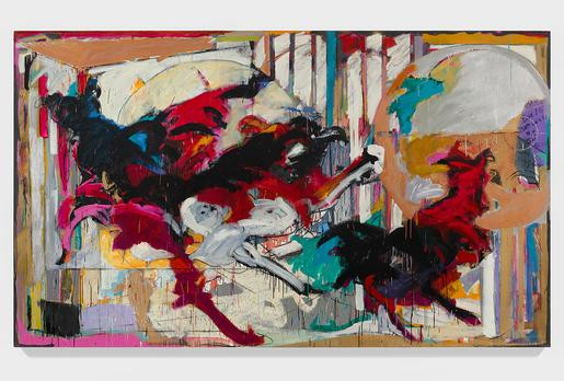 Mary Lovelace O'Neal  Running With My Black Panthers and White Doves  a.k.a Running with My Daemons (from the Panthers In My Father's Palace series)  circa 1989-1990  mixed media on canvas  81 x 138 inches (205.7 x 350.5 cm)