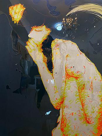 "Sobin Park, Deep Dream, 2019, 35 1/2 x 47 1/4"" (90 × 120cm), pencil on wood, coloring"