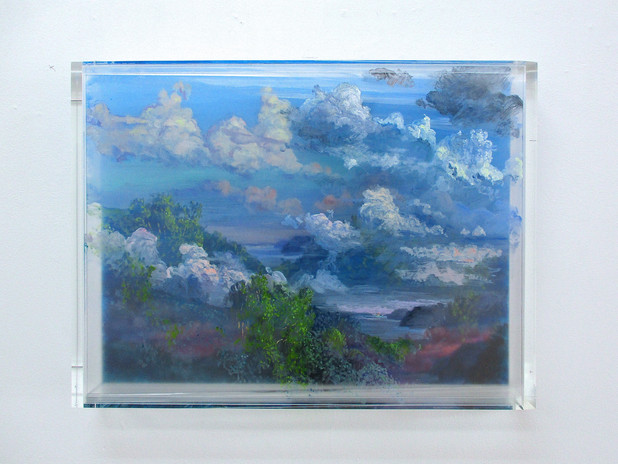 MARTIN WEINSTEIN Clouds and River, 3 Evenings, 2018 Acrylic on multiple acrylic sheets 20 1/2 x 26 1/2 x 2 1/2 in. (Courtesy Lichtundfire)