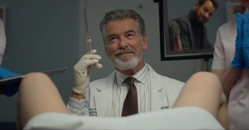 Pierce Brosnan in False Positive c/o A24/Hulu