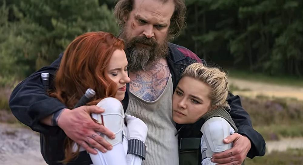 Scarlett Johansson, David Harbour, and Florence Pugh in Black Widow c/o Marvel