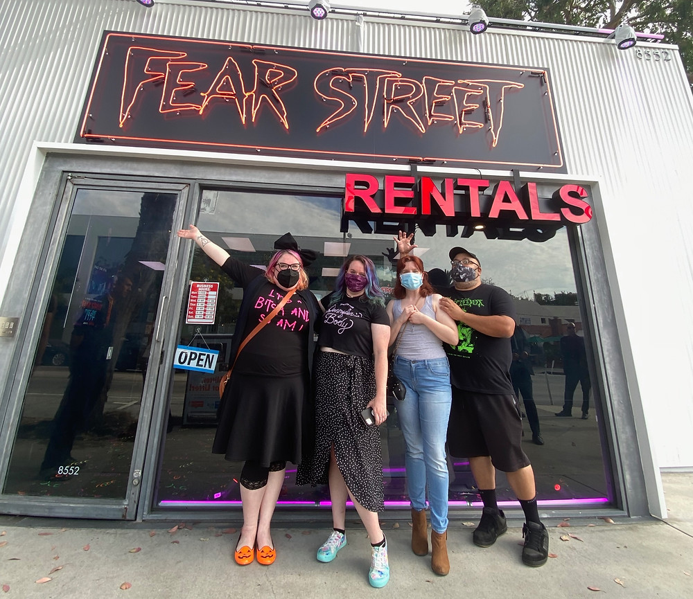 Shannon McGrew, Kayla Caldwell, Sarah Musnicky, and James H. Carter II outside of Fear Street Rentals