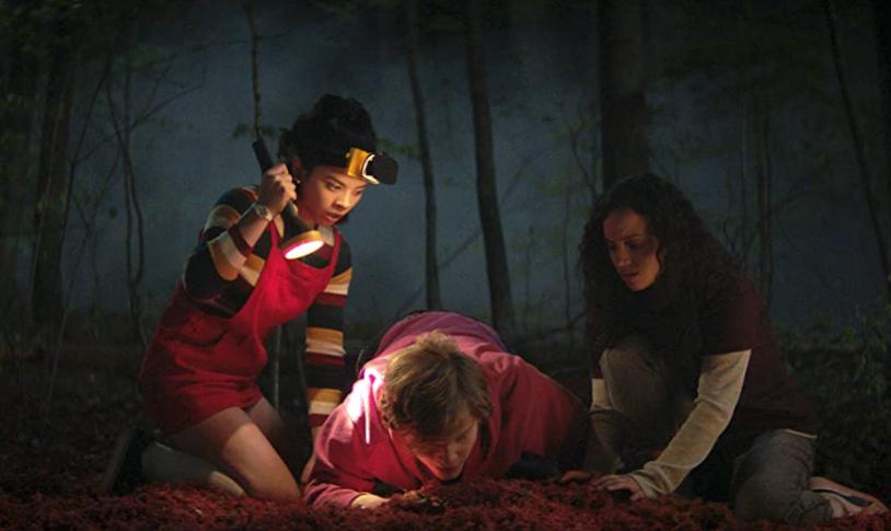 Julia Rehwald, Kiana Madeira, and Fred Hechinger in Fear Street c/o Netflix/Chernin Entertainment