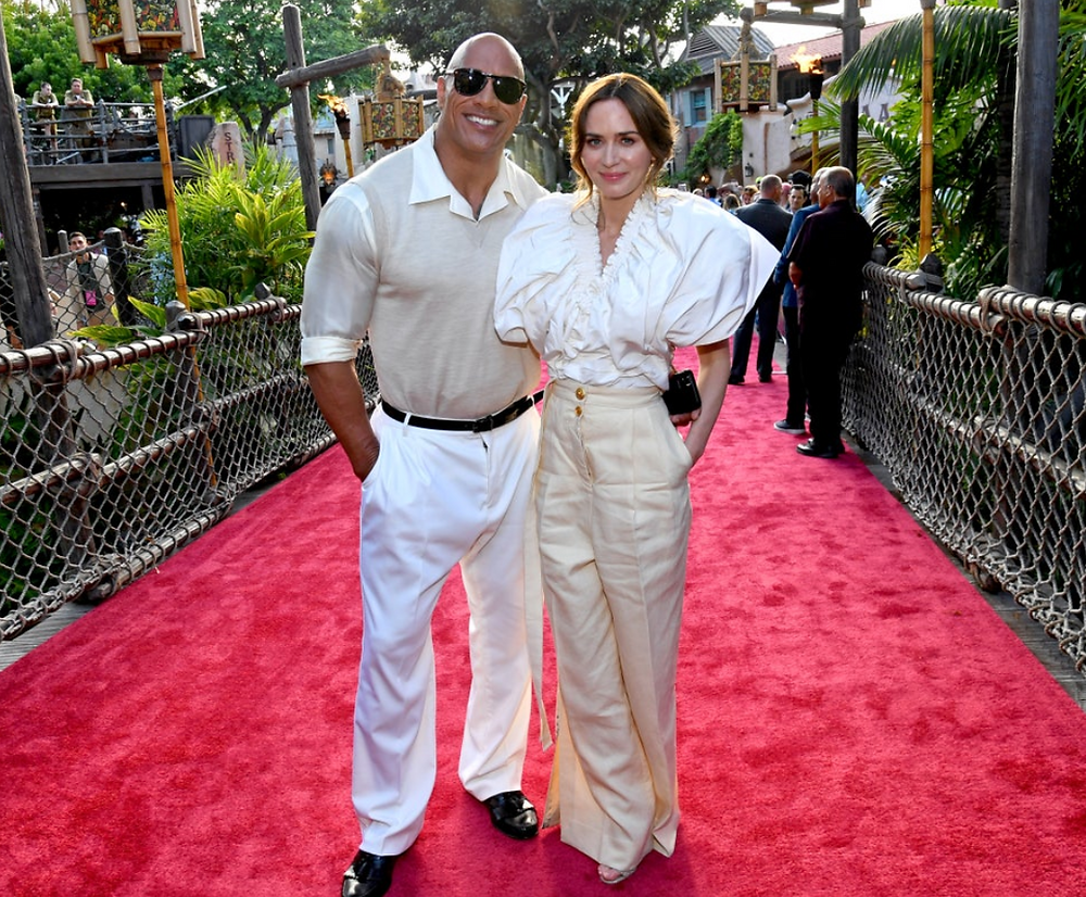 """Dwayne """"The Rock"""" Johnson and Emily Blunt at the World Premiere of 'Jungle Cruise' at Disneyland"""