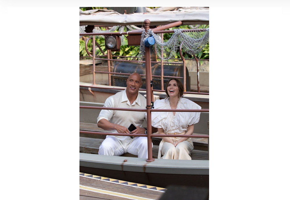 """Leads Dwayne """"The Rock"""" Johnson and Emily Blunt on the Jungle Cruise ride at Disneyland"""