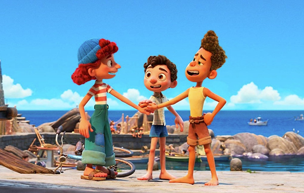 Luca characters voiced by Emma Berman, Jacob Tremblay, and Jack Dylan Grazer c/o Disney Plus/Pixar
