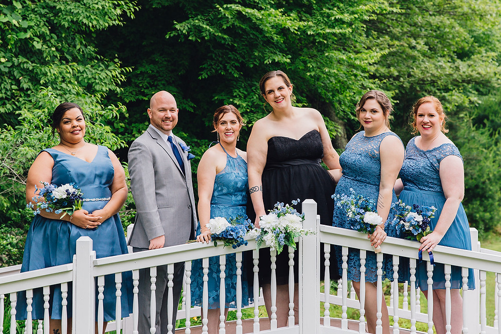 the bride and her crew smiling