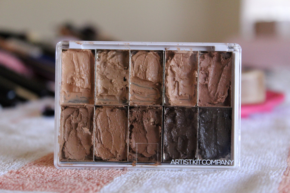Foundation colors in a palette that is standing up
