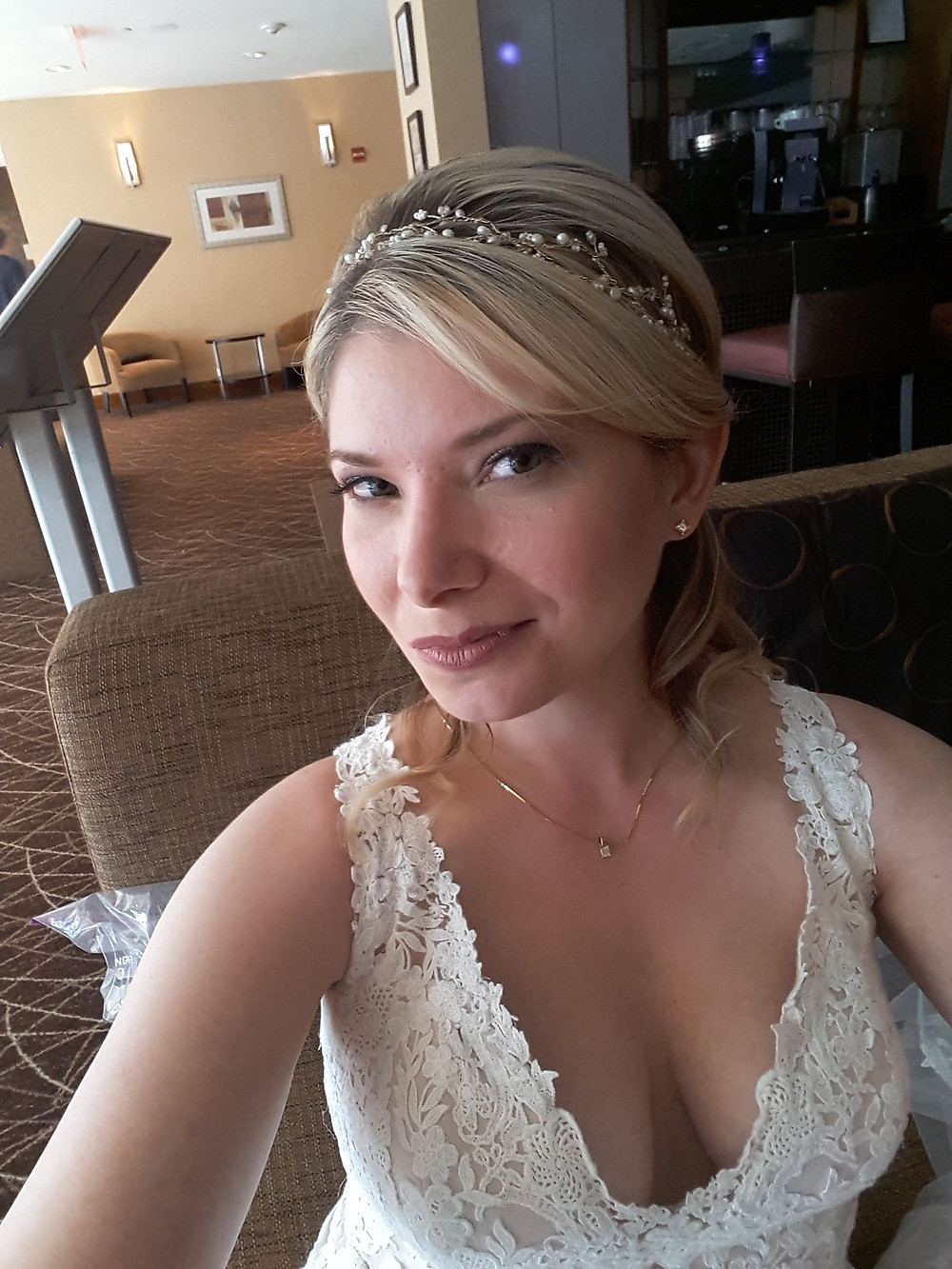the bride is taking a selfie