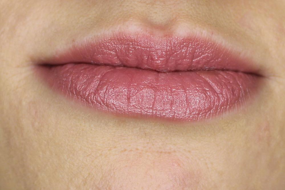 matte lip liner layered with creme lipstick